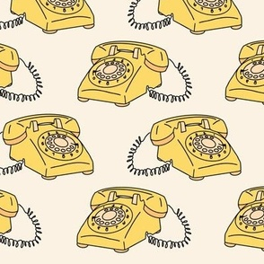 Retro Vintage Telephone with Cord in Yellow