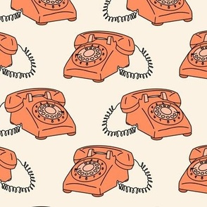 Retro Vintage Telephone with Cord in Orange