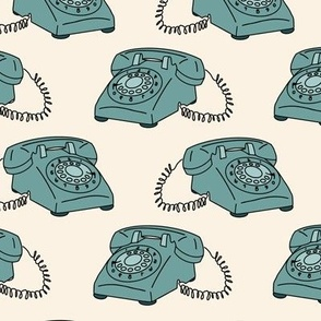 Retro Vintage Telephone with Cord in Teal Blue green