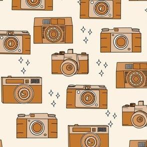 Vintage Cameras in Tan Caramel Brown