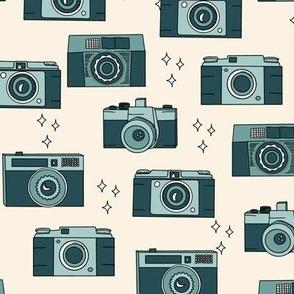 Vintage Cameras in Teal Blue Green