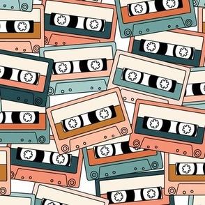 Retro Audio Tape Cassette in Peach Teal Orange Blue Green
