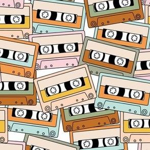 Retro Audio Tape Cassette in Beige Brown Pink Mint