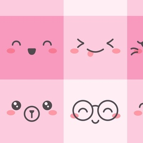 Kawaii Faces on Pink Plaid Boxes  (Large Scale)