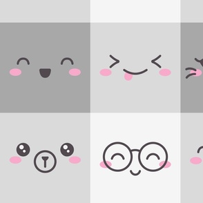 Kawaii Faces on Grey Plaid Boxes (Large Scale)