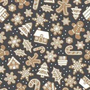 Gingerbread Cookies - Charcoal, Medium Scale