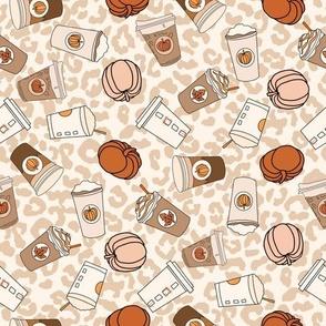 LARGE pumpkin spice leopard fabric - cute neutral psl design