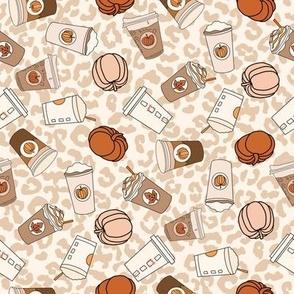 SMALL pumpkin spice leopard fabric - cute neutral psl design