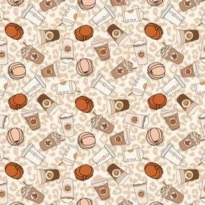 MINI pumpkin spice leopard fabric - cute neutral psl design