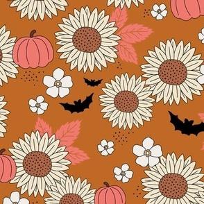 Sunflowers field and pumpkin patch boho garden fall blossom and bats halloween design burnt orange pink beige