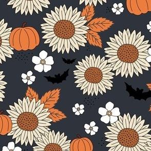 Sunflowers field and pumpkin patch boho garden fall blossom and bats halloween design navy blue orange beige