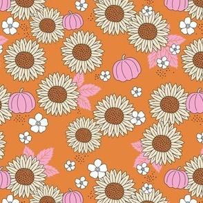Pumpkin patch and sunflower field boho garden design burnt orange pink beige