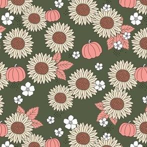Pumpkin patch and sunflower field boho garden design olive blush pink beige