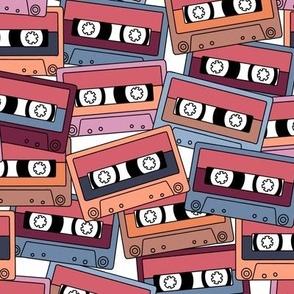 Retro Audio Tape Cassette in Purple Peach Lilac Blue