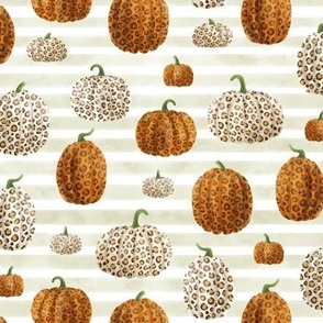 Leopard Print Pumpkins on Beige & White Stripes (Small Scale)