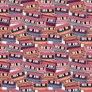 Small Retro Audio Tape Cassette in Purple Peach Lilac Blue