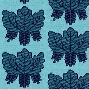 Embroidered Leaf Pattern Teal