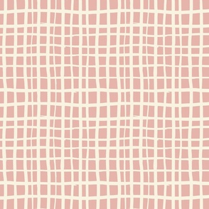 Cream and pink checks - Large