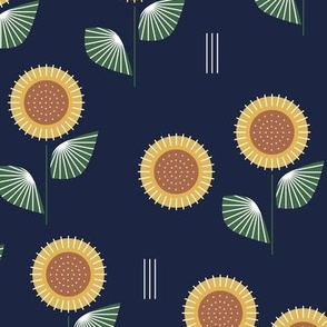 The Modern Sunflower garden botanical fall design with flowers and leaves green navy blue LARGE