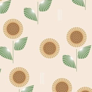 The Modern Sunflower garden botanical fall design with flowers and leaves green on beige  LARGE