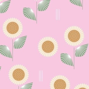 The Modern Sunflower garden botanical fall design with flowers and leaves green on pink  LARGE