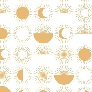 Moon phases and sunflowers abstract mid-century style sunshine print honey yellow on white