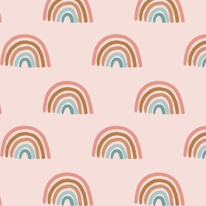 Pastel Rainbows on Pink