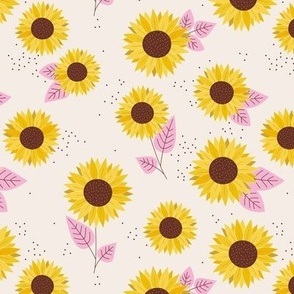 Sunflowers petals and leaves little romantic fall blossom with speckles pink on blush