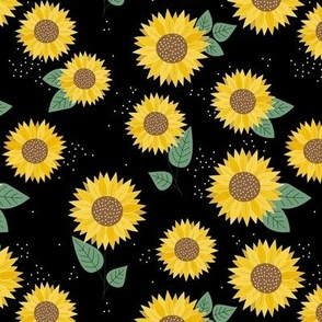 Sunflowers petals and leaves little romantic fall blossom with speckles green on black