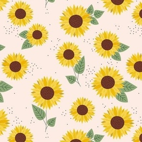 Sunflowers petals and leaves little romantic fall blossom with speckles green on cream