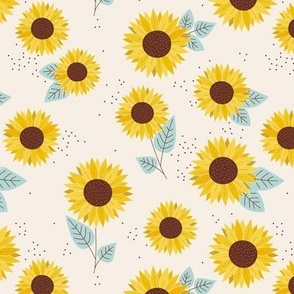 Sunflowers petals and leaves little romantic fall blossom with speckles misty blue on cream