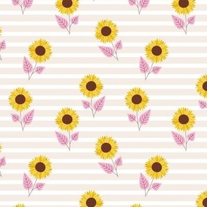 Striped sunflowers blossom minimalist autumn in pink yellow and sand
