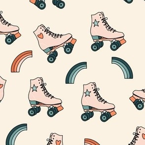 Retro Rolling Skates Fun Vintage Sport in Peach and Teal