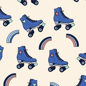Retro Rolling Skates Fun Vintage Sport in Blue