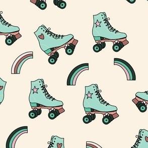 Retro Rolling Skates Fun Vintage Sport in Mint Green Pink