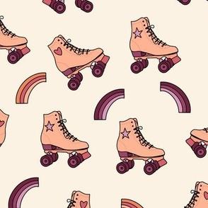 Retro Rolling Skates Fun Vintage Sport in Peach Purple