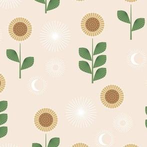 Mid-century style sunflower garden and moon phase design green on cream