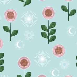 Mid-century style sunflower garden and moon phase design pink on soft blue
