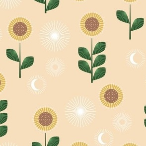 Mid-century style sunflower garden and moon phase design green on butter yellow