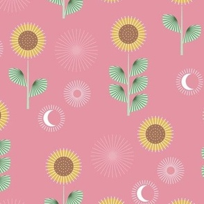 Mid-century style sunflower garden and moon phase design mint green on pink