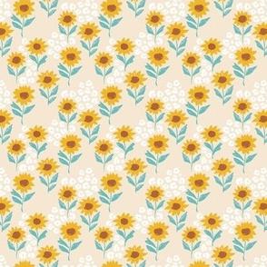 The leopard sunflowers sweet wild blossom aqua on beige tiny