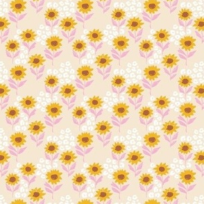 The leopard sunflowers sweet wild blossom pink on beige tiny