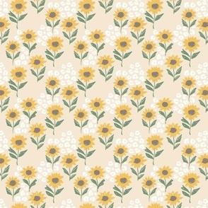 The leopard sunflowers sweet wild blossom green on beige