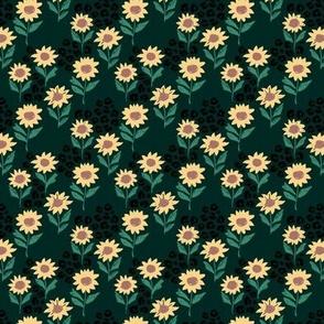 The leopard sunflowers sweet wild blossom green black tiny