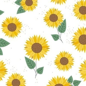 Delicate sunflowers petals and leaves little romantic fall blossom with speckles yellow green on white