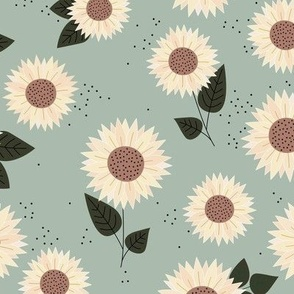 Delicate sunflowers petals and leaves little romantic fall blossom with speckles mist green butter