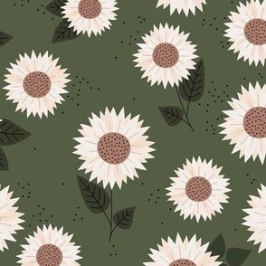 Delicate sunflowers petals and leaves little romantic fall blossom with speckles olive camo green