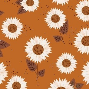 Delicate sunflowers petals and leaves little romantic fall blossom with speckles burnt orange rust white
