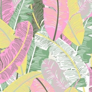 Miami Beach Banana Leaves Repeat in Strawberry Mint