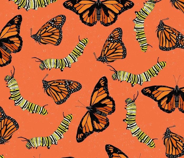 Retro Monarch Repeat - Orange